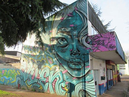 Fresque Portrait bleu-vert
