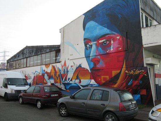 Fresque Portrait rouge et bleu
