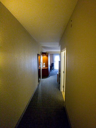Long hallway to the room. Most of this is because of the ice machine next to this room