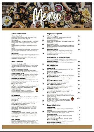 Pacific Pines Tavern: Menu