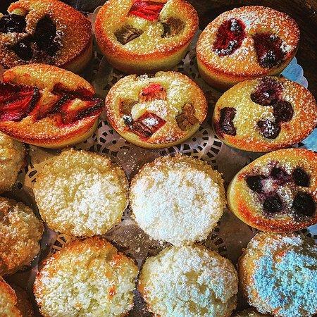 Gluten free friand, coconut biscuit