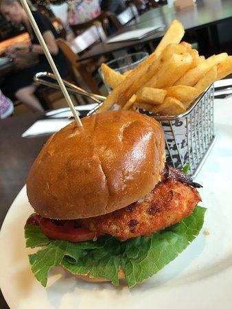 Crispy fried chicken hamburger