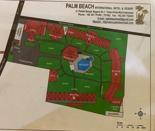 Hotel Map Picture Of Palm Beach Hotel Bali Kuta Tripadvisor