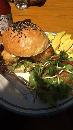cauliflower burger with wasabi mayo! 95 baht