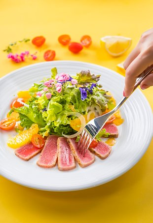 SEARED TUNA SALAD - with orange, fennel, cherry tomatoes, orange vinaigrette and jalapeno-lime tequila salt.