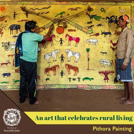 Pithora paintings are not merely a form of art but also a means to depict different hues of tribal life. If you wish to take a look at how this art is being practised then visit Alirajpur district in Madhya Pradesh and adore how every artist leaves a distinct mark on the paintings.  Visit now: https://bit.ly/2stNAF1  #MPTourism #HeartOfIndia #MadhyaPradesh  Incredible India