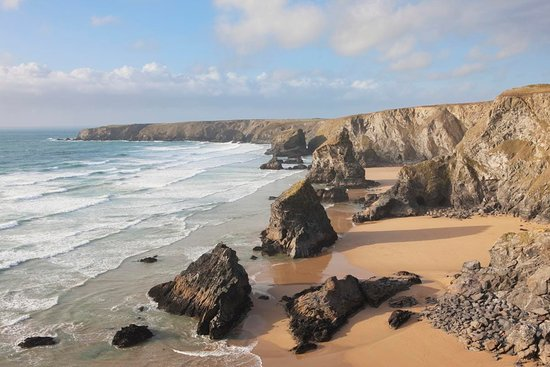 St Eval, UK: The Bedruthan Steps in Cornwall, one of my favourite beaches in the world!
