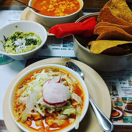Pozole with chicken and guacamole