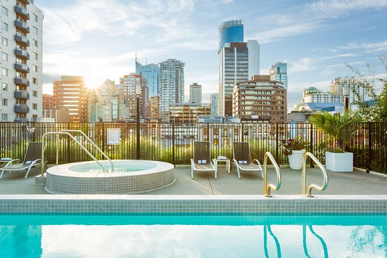 Pool, hot tub,and view from rooftop