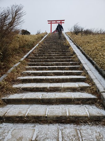 Mt Fuji, Hakone, Lake Ashi Cruise and Bullet Train Day Trip from Tokyo: Walking around top of Hakone (it was snowing)