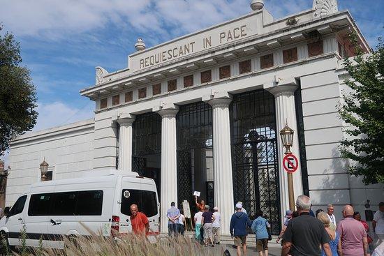 "Cemiterio de Recoleta: Main gate of Cementerio de la Recoleta with big sign ""Requiescat in Pace"" (""Rest in Peace"")"