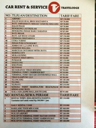 Car Transport Rates >> Hotel Transport Rates Picture Of Travelodge Batam Batu