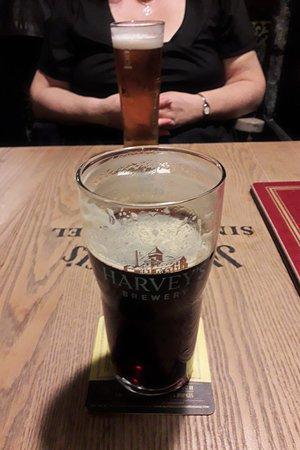 Halland, UK: Harveys dark ale!