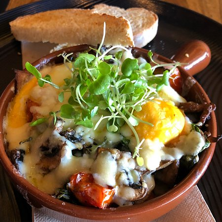Baked eggs. We have both vegetarian & bacon loaded pots for your enjoyment.