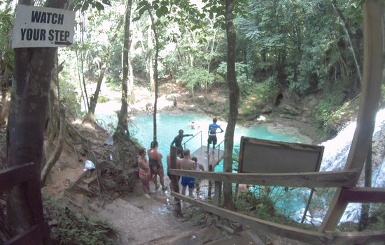 Platform at main Blue Hole,  Height is 25 to 30 feet above the water.
