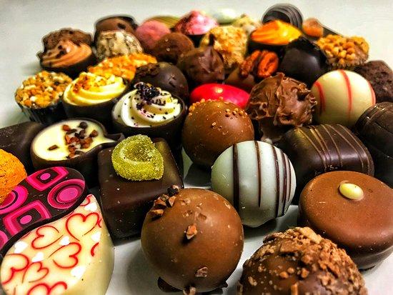 Bala, UK: Assorted luxury chocolates