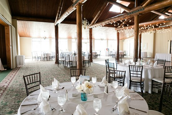 Wedding reception - chairs and overhead string lights were