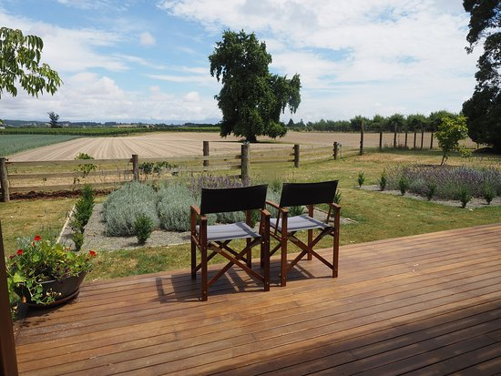 Appleby, Nya Zeeland: Enjoy the expansive views from the large deck looking out over the vineyards to Mt Arthur and the Western ranges.