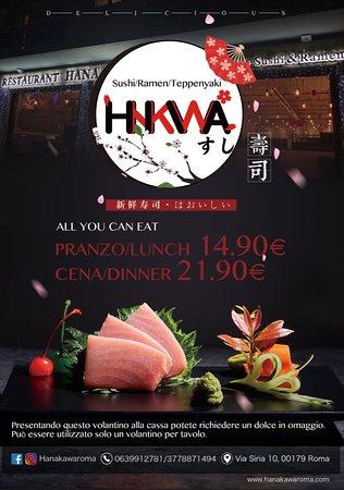 Salve a tutti! Da ora in poi ci sarà la possibilità di usufruire anche del menù all you can eat, a pranzo 14,90€, mentre a cena 21,90€.