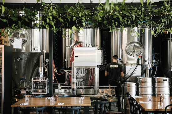 Brouhaha's brew kit and fermentation tanks are located a few steps away from our tables.