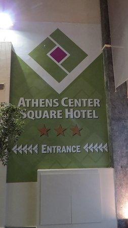 Athens Center Square: Hotel sign