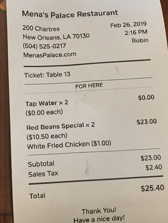 Lunch tab for two