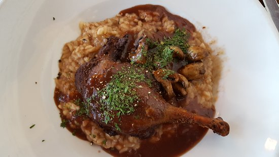 Duck with mushroom risotto