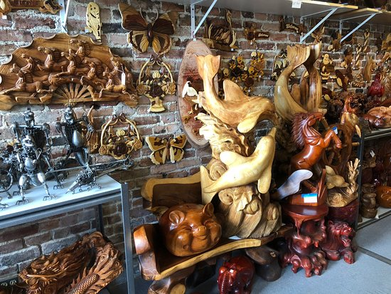 Virginia City, NV: Beautiful handmade wooden statue ships metal art and intarsia wooden pictures