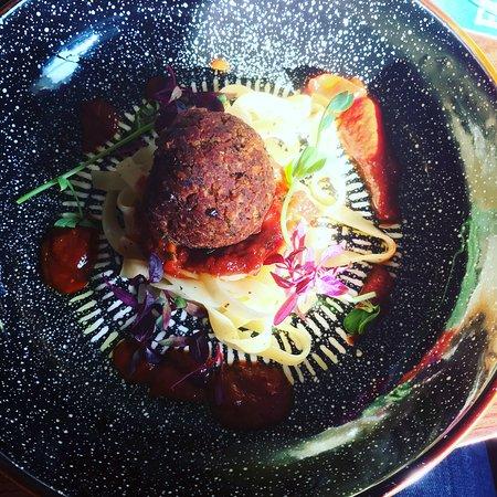 Croston, UK: Bean meatball with tagliatelle