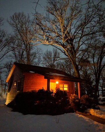 Shannon, IL: A night picture of one of the Luxury Cabins