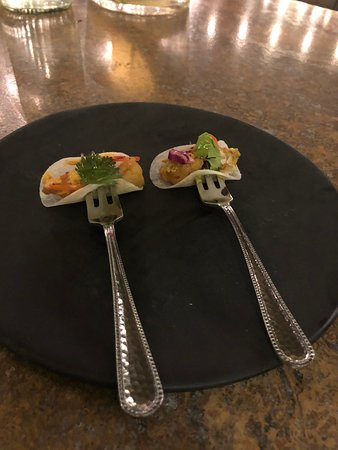 Lugareño Cocina: Fish taco amuse bouche. So good!