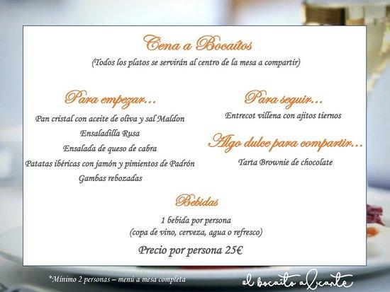 Menu cenas noches restaurante Alicante El Bocaito. Donde cenar en Alicante. Picoteo en Alicante. Tapas Alicante. Restaurante tradicional.