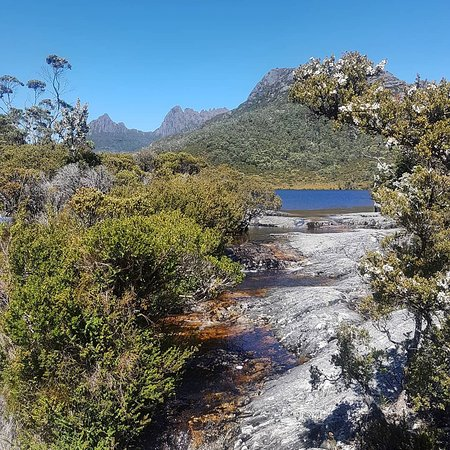Sheffield, Australien: A different view of Cradle Mountain, from the stunning walk from Dove Lake to Ronny Creek (this is Lake Lilla) (on tour with North West Safaris)