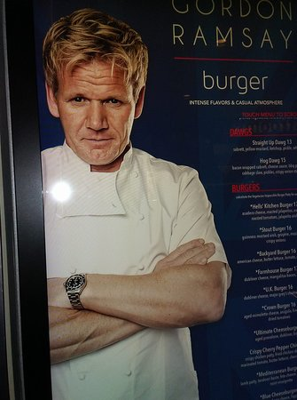 Gordon Ramsay Burger: menu posted outside restaurant entrance