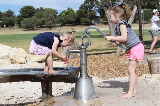 The very popular water play at the Nature Play Playground, Memorial Park, Naracoorte