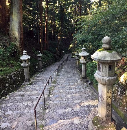 Old cobble stone path leading to the World Heritage listed temples of Mt Enryaku-ji at the summit of Mt Hiei