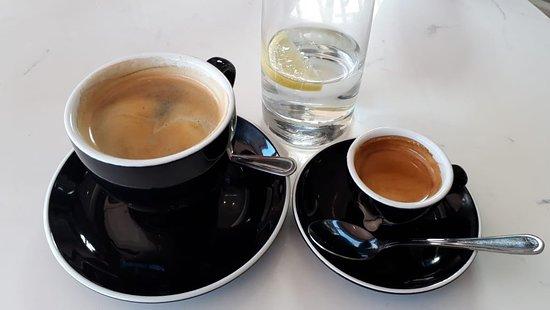 coffee and a double espresso