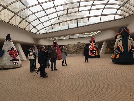 Sofia, Bulgaria: Exhibition of mummers chasing the bad devils.
