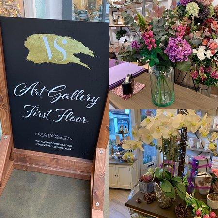 Market Harborough, UK: Vibrant Senses, art, faux flowers, Neom and Noble Isle