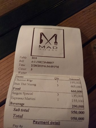The bill for 3 people