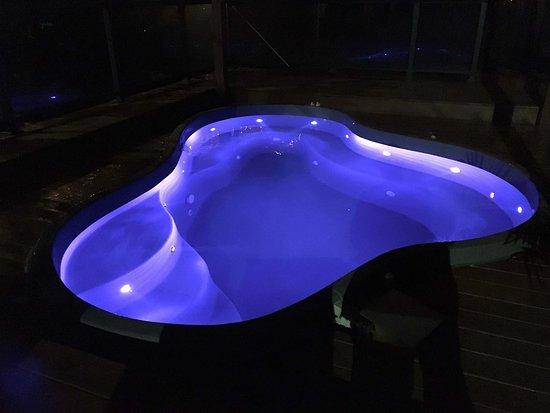 NEW! Conversation pool lit at night.