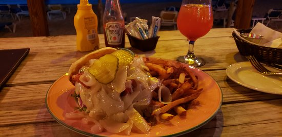 Amazing burger and fries at Roy's Bayside Grill Anguilla