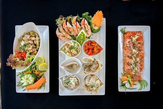 ceviche, plato americano y carpaccio de salmón