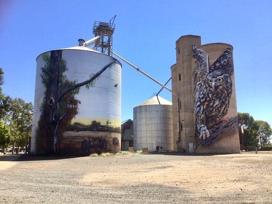 The Goorambat Silo murals are one of the reasons for visiting this small town. The pub is just down the road.