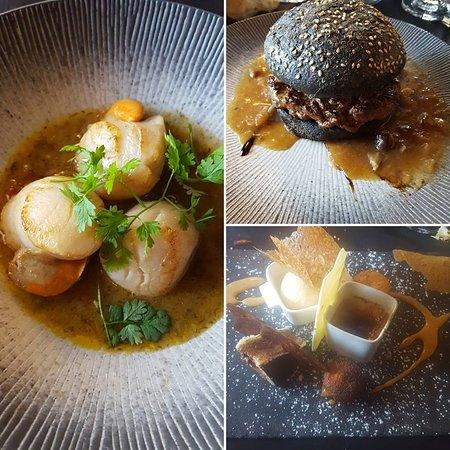 Oye-Plage, France: les saint jacques parfaitement cuites Le burger black angus avec frites et foie gras poêlé  La farandole des desserts de la carte idéale pour terminer ce repas