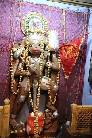 Statue of Lord Hanuman made up of brown colored jade stone