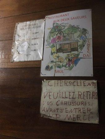Saul, French Guiana: La carte!!!