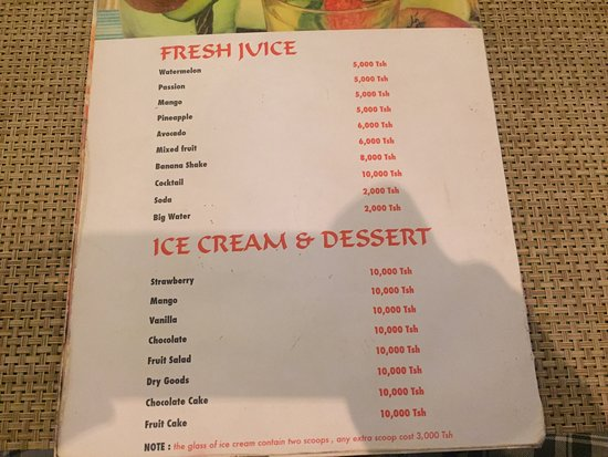 The Lebanese Cuisine Kendwa Zanzibar: The prices are really Good for the value of food