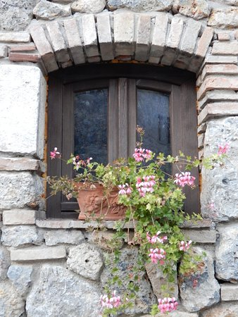 A window in one of the residential buildings