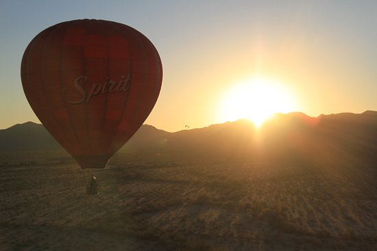 Gold Canyon, AZ: Our Spirit balloon over the Vekol Valley and the Sonoran Desert National Monument at sunset!